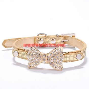 Cat & Dog Collar with Rhinestone Bow Tie  My Pet World Store