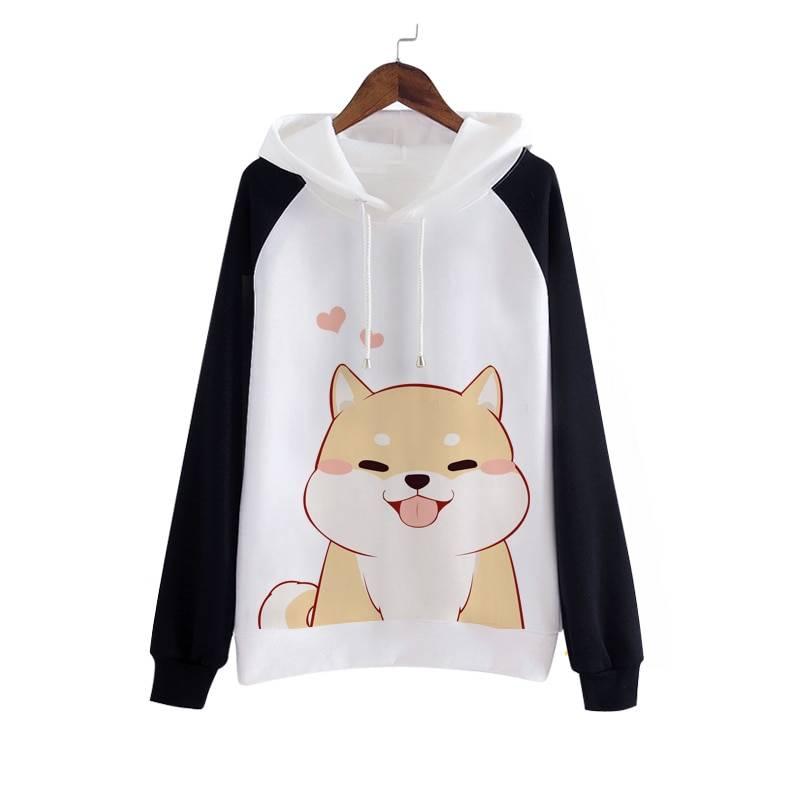Women's Kawaii Shiba Inu Dog Printed Hoodie  My Pet World Store