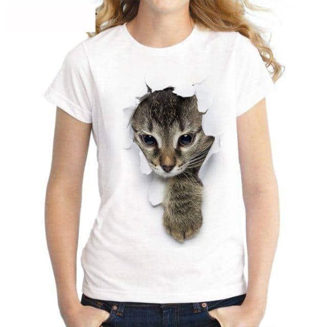 Women's Cat Printed T-Shirt  My Pet World Store