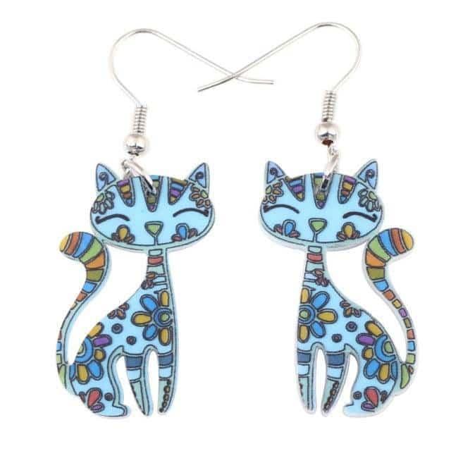 Cartoon Floral Printed Women's Cat Drop Earrings  My Pet World Store