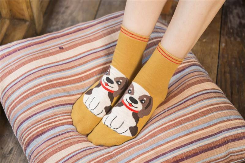 Women's Cute Cats and Dogs Printed Socks 5 Pairs Set
