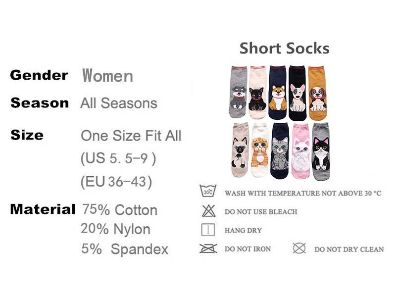 Women's Cute Cats and Dogs Printed Socks 5 Pairs Set  My Pet World Store