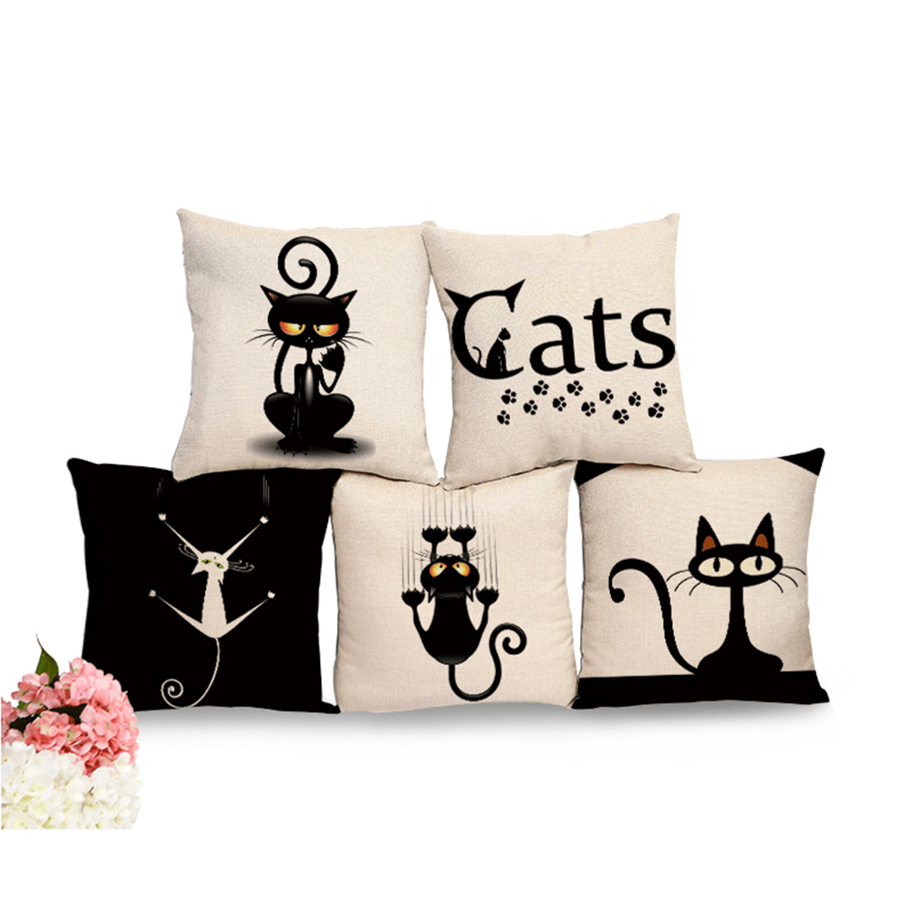 Square Cat Printed Cotton Cushion Cover  My Pet World Store