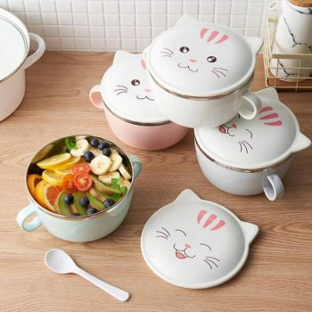 Cat Printed Stainless Steel Lunch Box for Kids  My Pet World Store