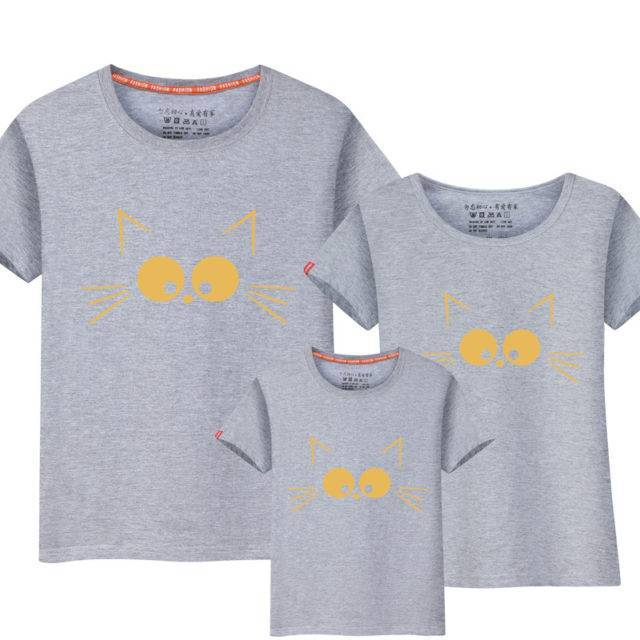 Family Matching Outfits Cat Printed T-Shirts  My Pet World Store