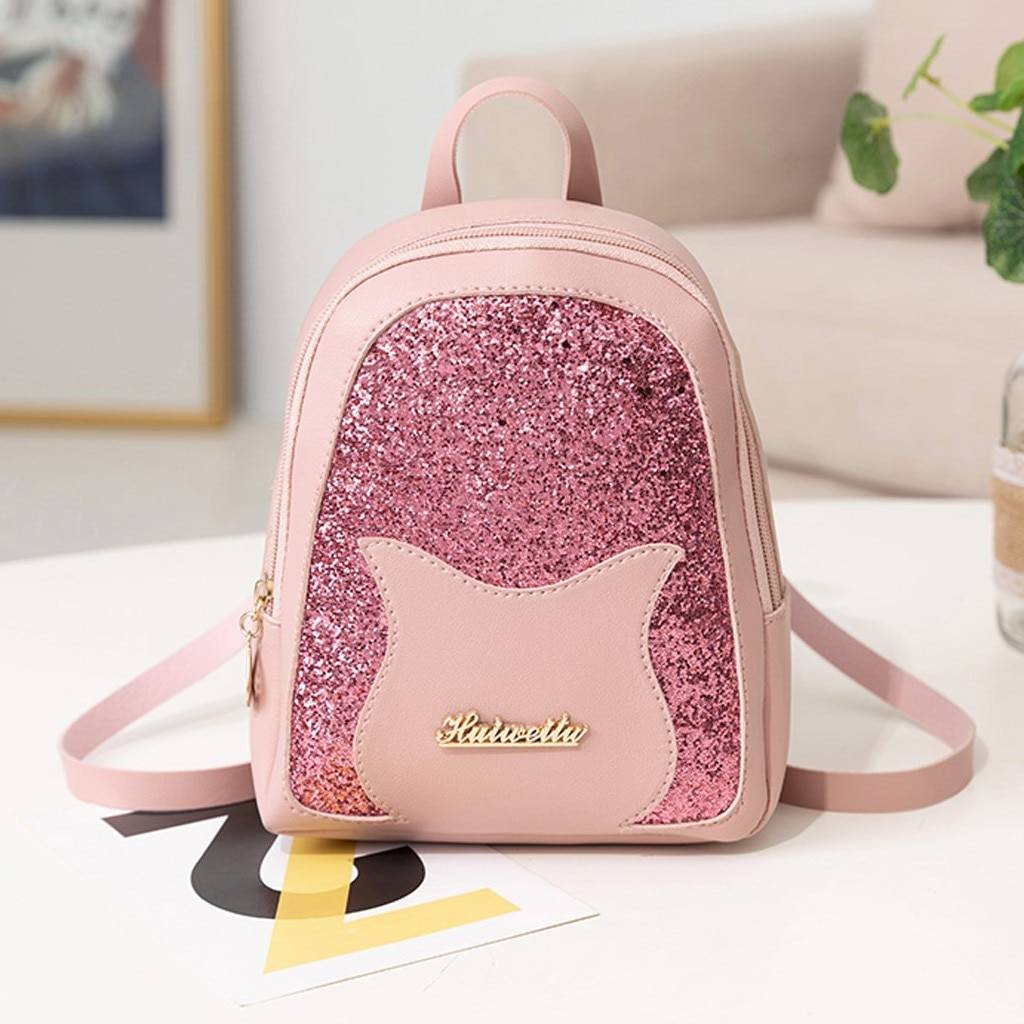 Girl's Cat Themed Sequined Backpack