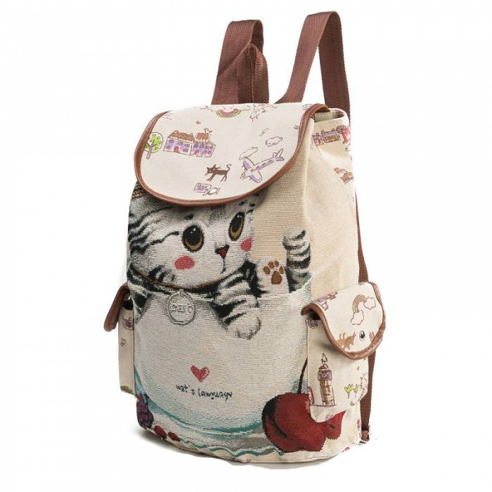 Women's Cute Canvas Backpack with Cat Themed Pattern  My Pet World Store
