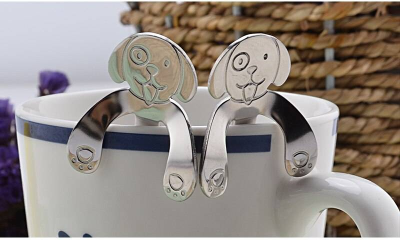 Stainless Steel Dog Shaped Hanging Tea Spoon