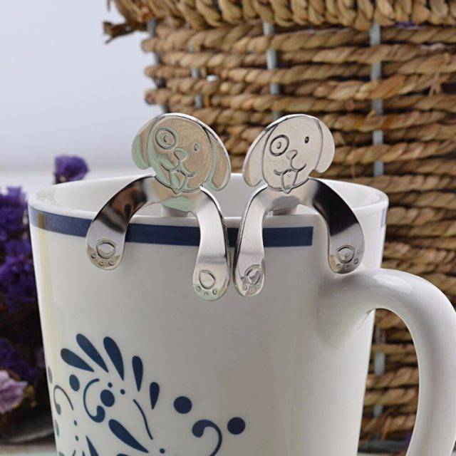 Stainless Steel Dog Shaped Hanging Tea Spoon  My Pet World Store
