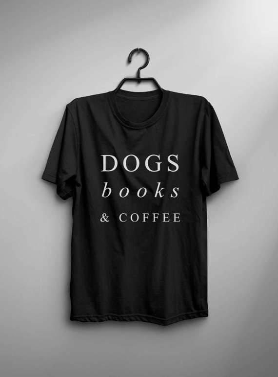 Women's Casual Dogs Books and Coffee Printed T-Shirt  My Pet World Store