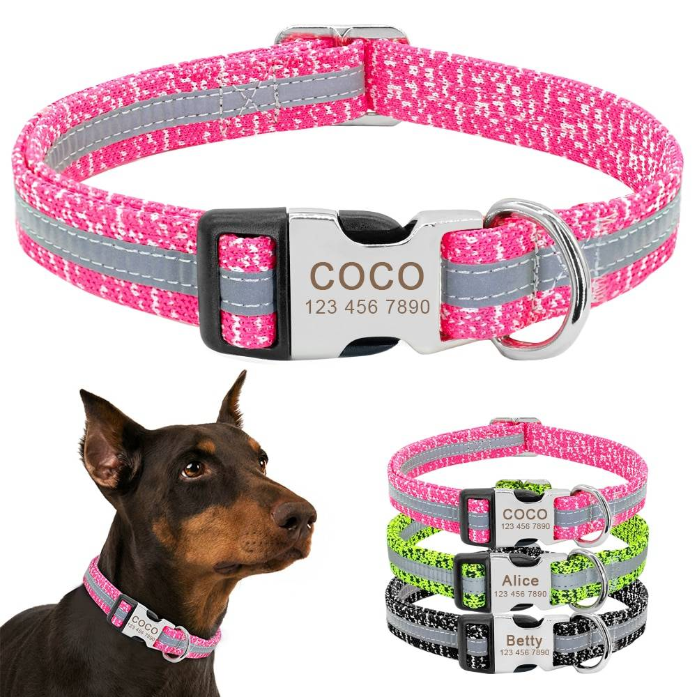 Dog's Reflective Detail Printed Collar  My Pet World Store