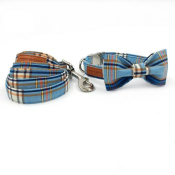 Plaid Dog Bowtie Collar and Leash Set  My Pet World Store