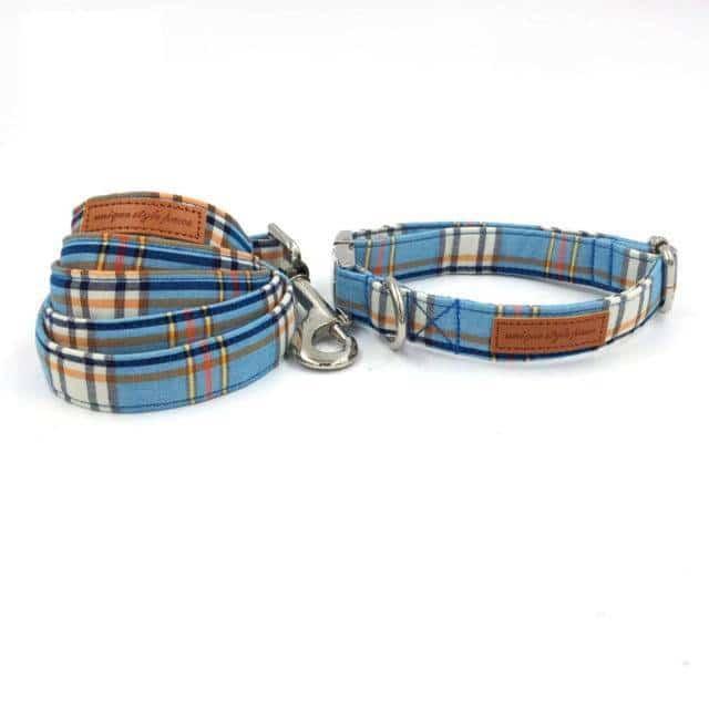 Plaid Dog Bowtie Collar and Leash Set  My Pet World Store