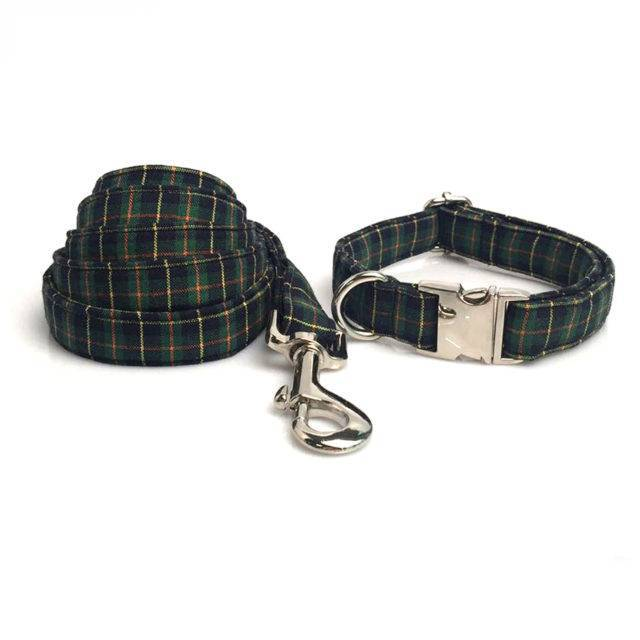 Green Plaid Dog Bowtie Collar and Leash Set  My Pet World Store