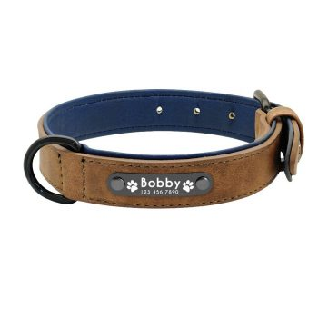 Dog's Leather Collar with ID Tag Color: Coffee Size: S My Pet World Store