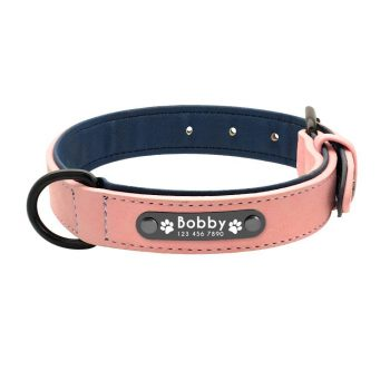 Dog's Leather Collar with ID Tag Color: Pink Size: XXL My Pet World Store