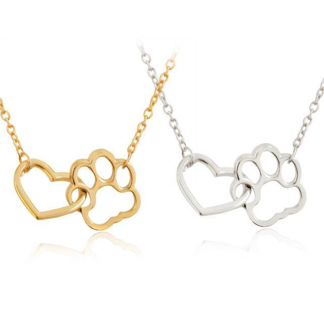 Dog Paw & Heart Pendant Necklace  My Pet World Store