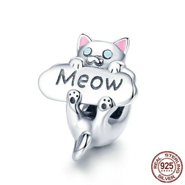Genuine 925 Sterling Silver Naughty Cat Beads Charm Jewelry  My Pet World Store