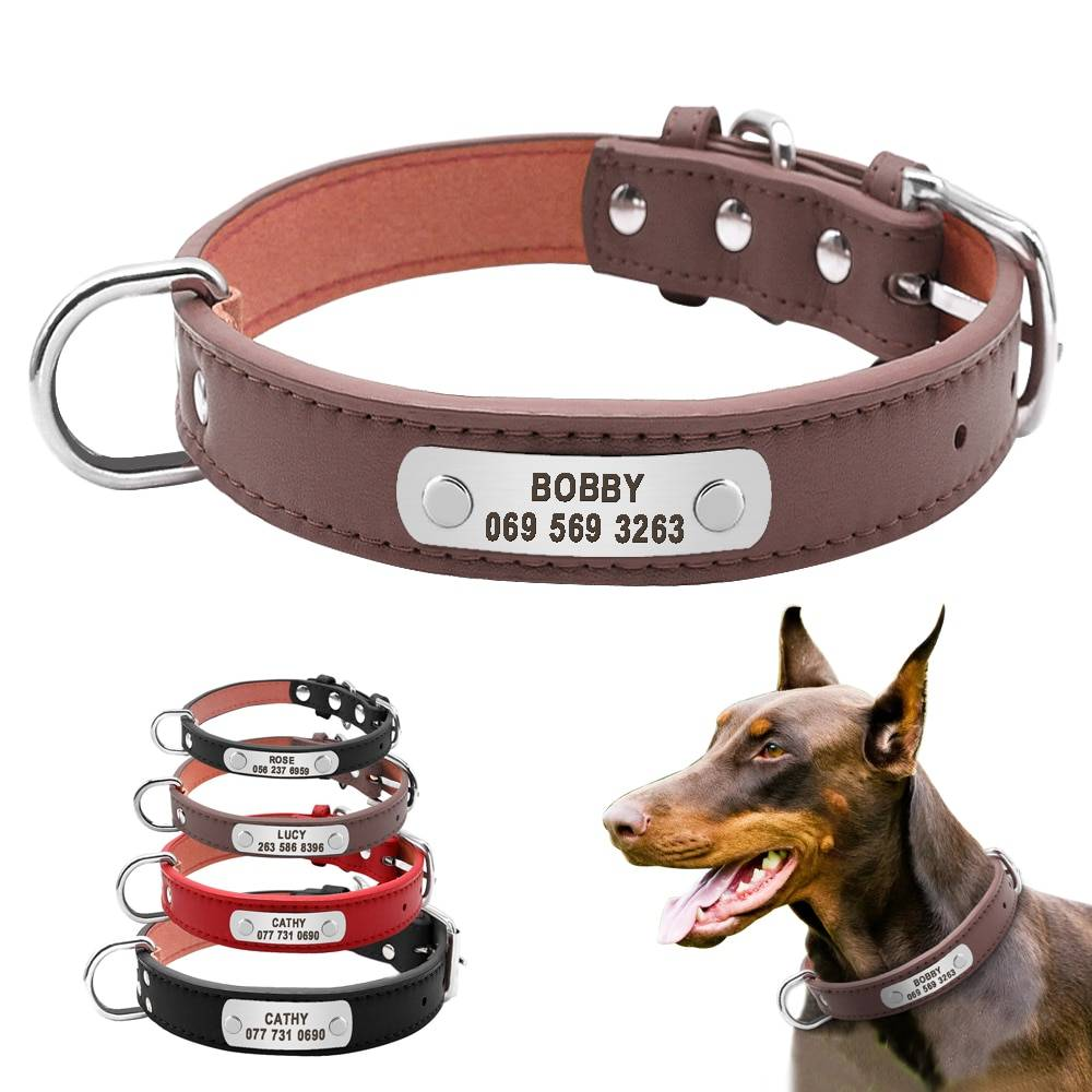 Large Durable Personalized Dog Collar PU Leather  My Pet World Store