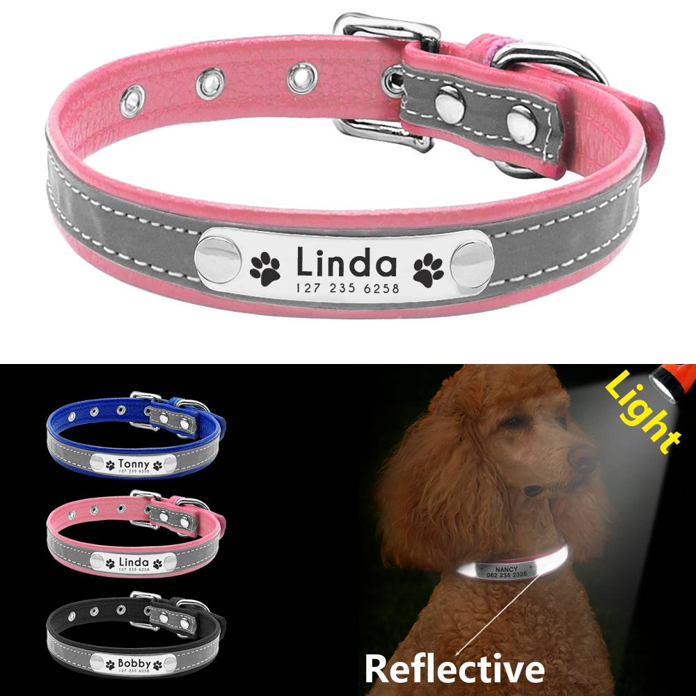 Reflective Personalized Leather Dog Collar  My Pet World Store