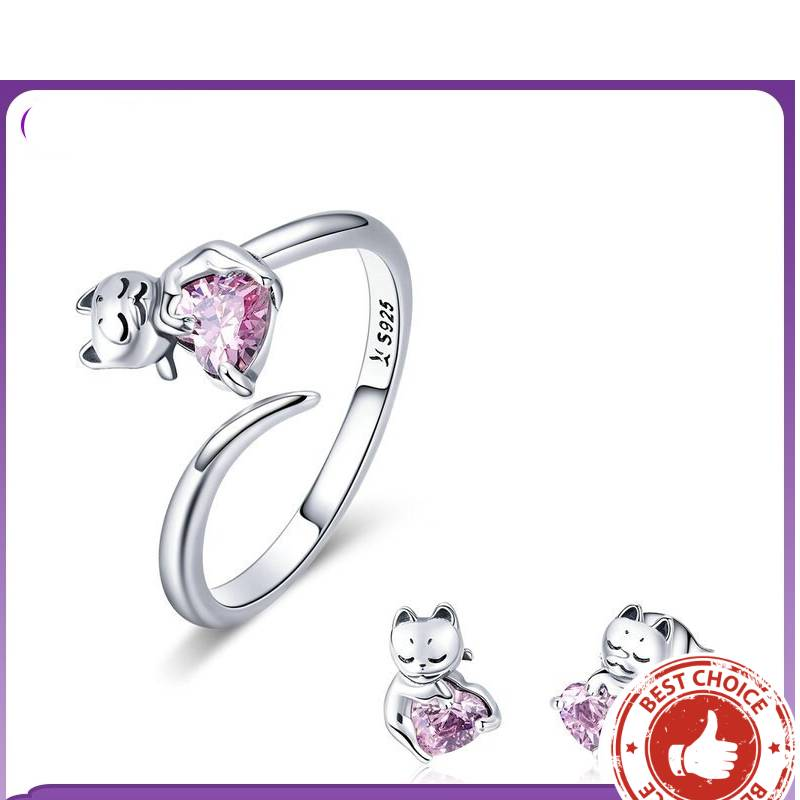Authentic 925 Sterling Silver Cute Cat Rings & Earrings Jewelry Set  My Pet World Store