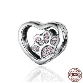 Cat Love Heart-shape Charm 925 Sterling Silver  My Pet World Store