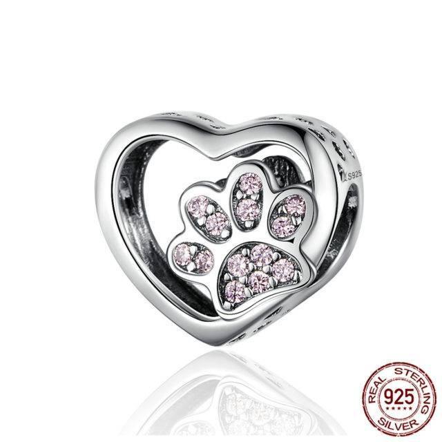 Cat Love Heart-shape Charm 925 Sterling Silver  My Pet World Store