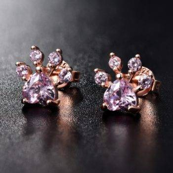 Shiny Pink Stud Earrings Dog Paw  My Pet World Store