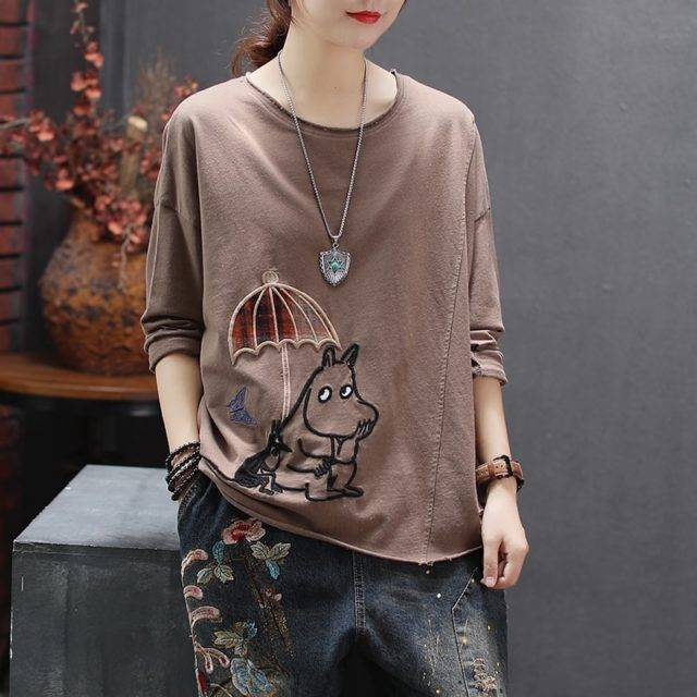 Women Spring Cartoon Dog Embroidery Casual Loose Tshirts  My Pet World Store