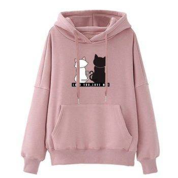 Women Cat Printed Hoodie Long Sleeves  My Pet World Store