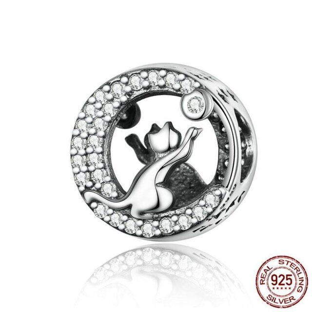 925 Sterling Silver Two Kitties with Moon Charm  My Pet World Store