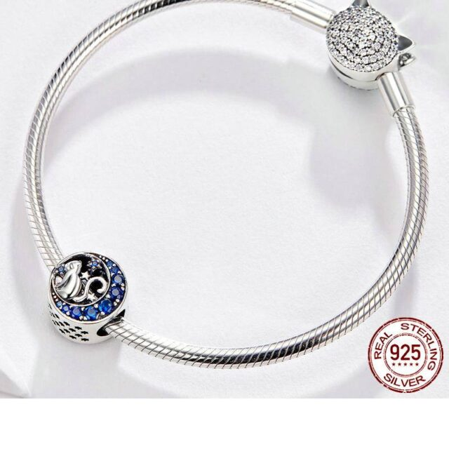 Silver S925 Blue Moon Naughty Cat Charms for Bracelet  My Pet World Store