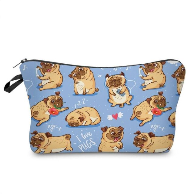 Cute Pug	Cosmetic Bag  My Pet World Store