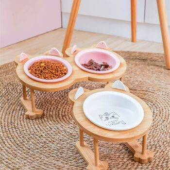 Ceramics Pet Single And Double Food Bowl With Wooden Frame  My Pet World Store