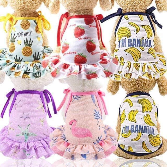 Summer Dog Strawberry, Banana Design Tshirt  My Pet World Store