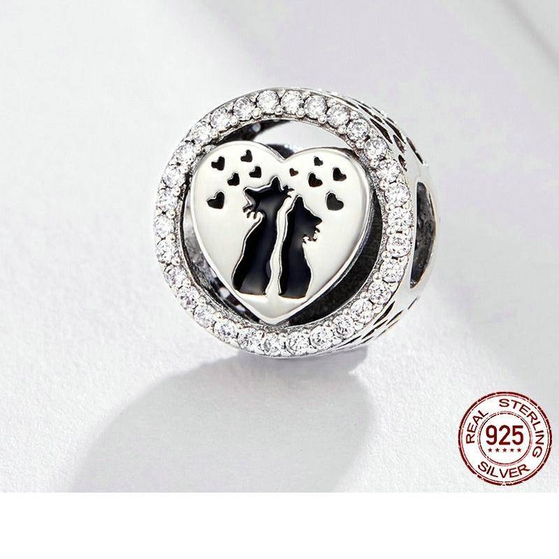 925 Sterling Silver Cat Couples Love Heart Charm  My Pet World Store