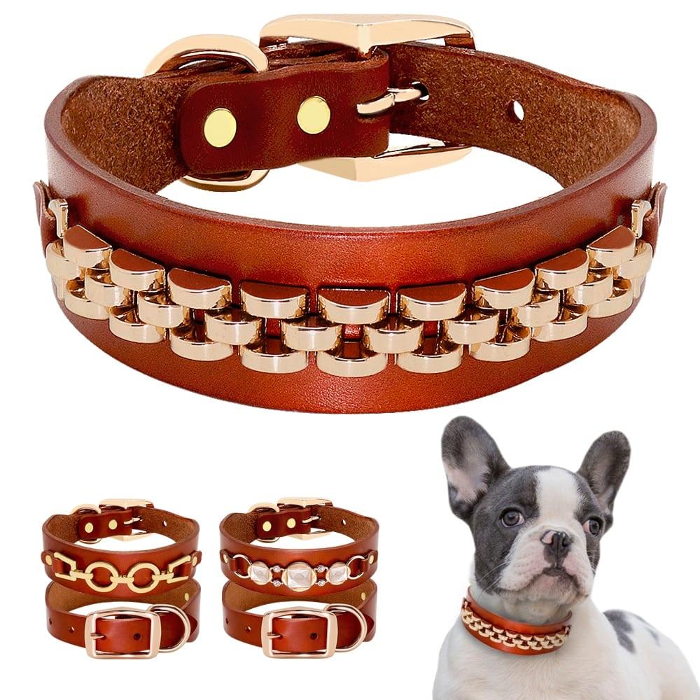Fashion Leather Dog Collar French Bulldog Rhinestone Pet Collar Perro For Small Medium Dogs Metal Accessories Pet Collars  My Pet World Store