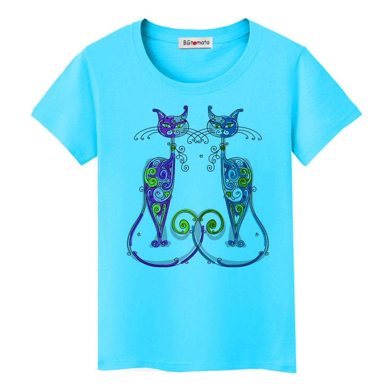 For Pet Fans New Arrivals T-shirts, Sweatshirts & Hoodies Colorful Women's T-Shirt with Cats Print  My Pet World Store