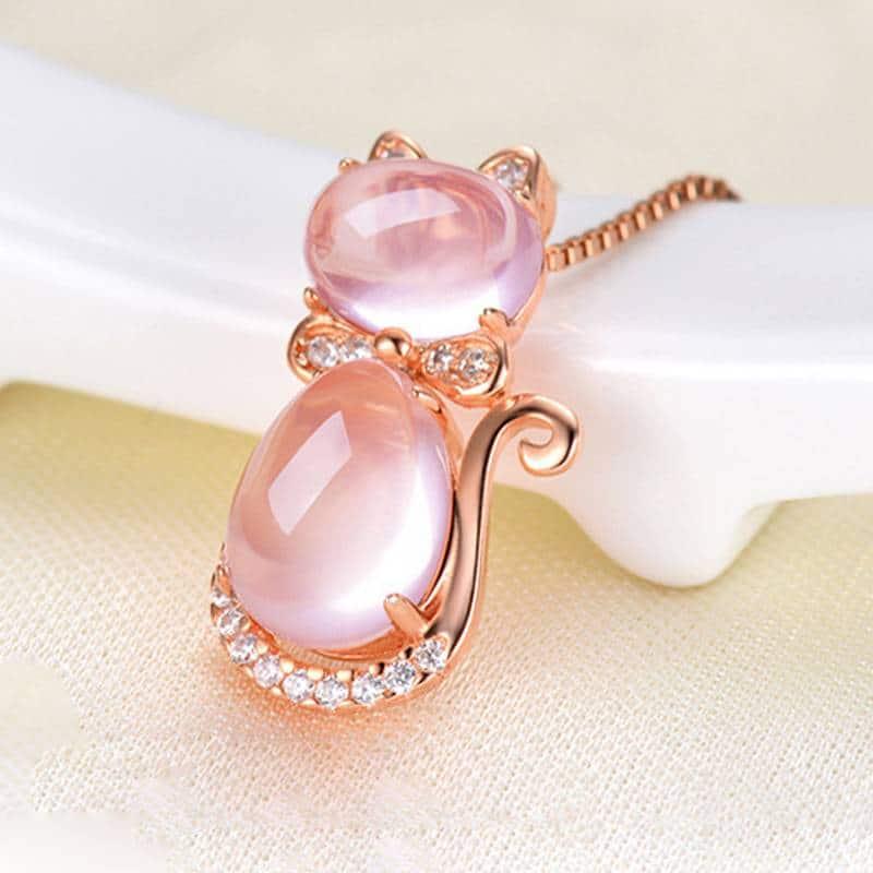 For Pet Fans Jewelry & Watches New Arrivals Cute Pink Quartz Cat Design Women's Pendant Necklace  My Pet World Store