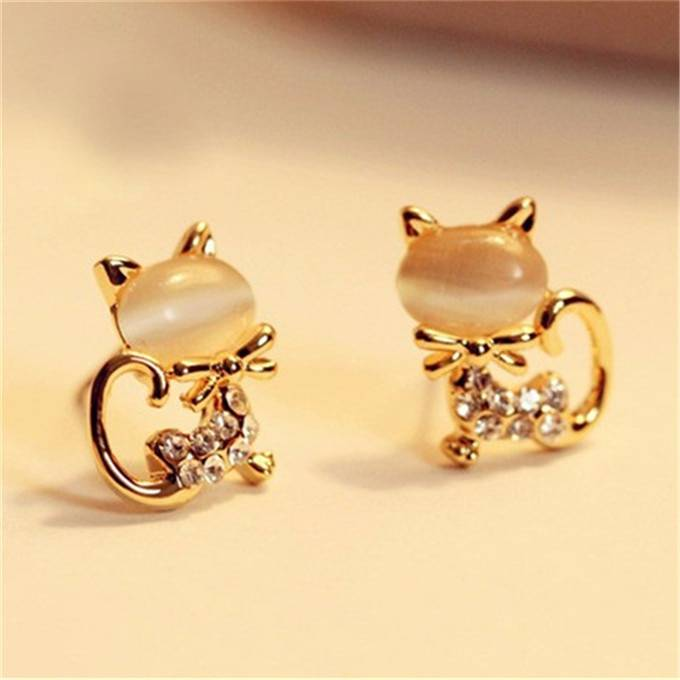 For Pet Fans Jewelry & Watches New Arrivals Cat Shaped Women's Stud Earrings with Rhinestones  My Pet World Store