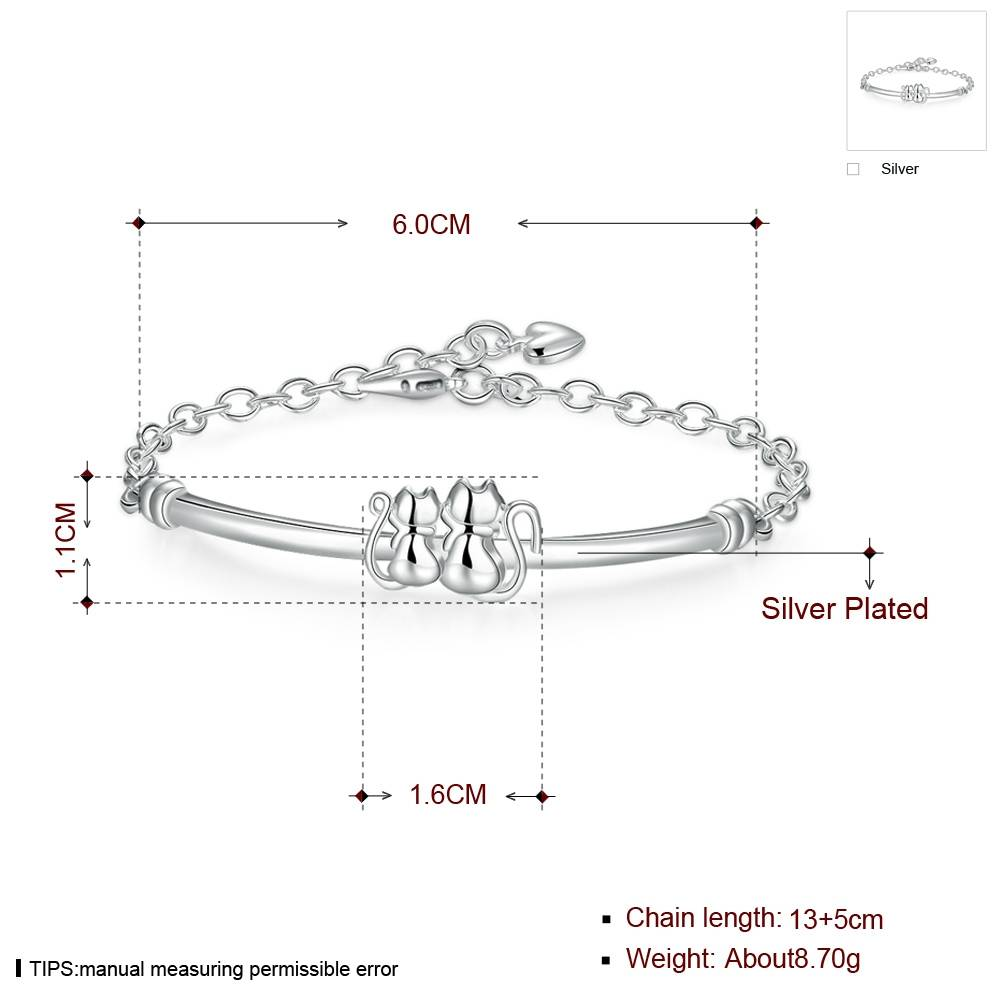Lovely Cats Shaped Silver Plated Women's Chain Bracelet