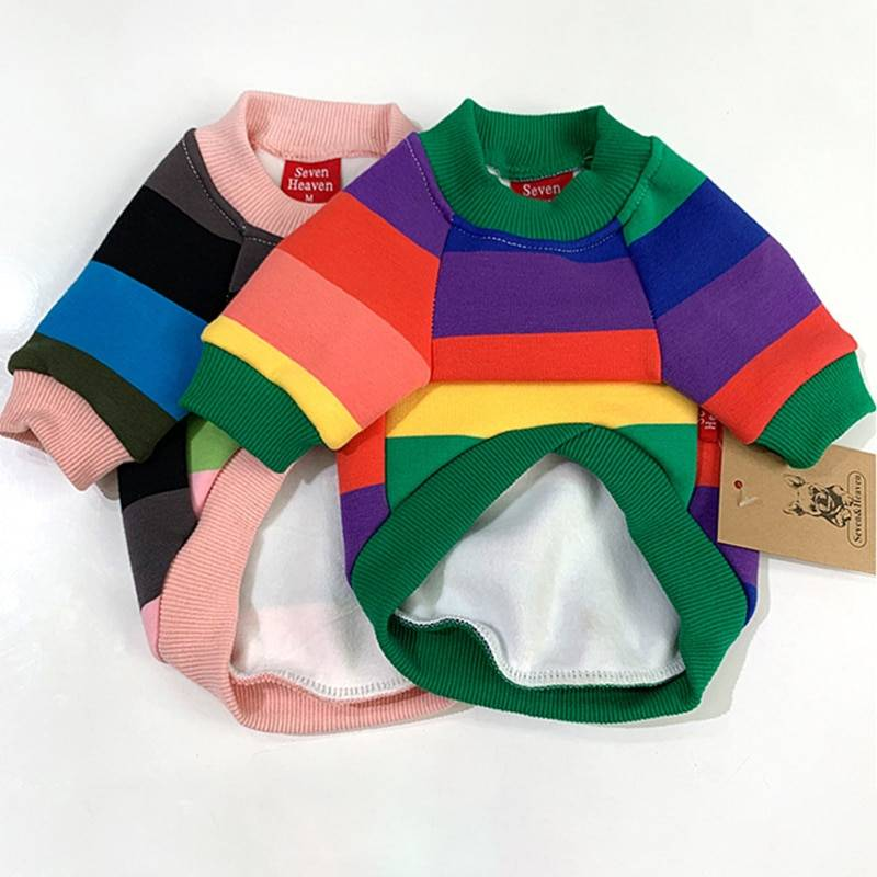 Matching Owner Clothes New Arrivals Warm Colorful Striped Owner and Pet Matching Hooides Set  My Pet World Store