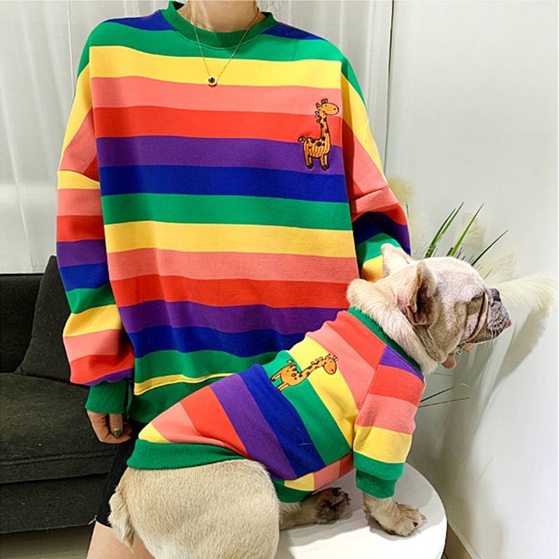 Warm Colorful Striped Owner and Pet Matching Hooides Set